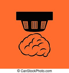 Smoke sensor icon. Orange background with black. Vector...