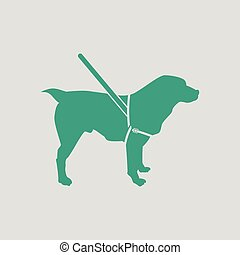 Guide dog icon. Gray background with green. Vector...