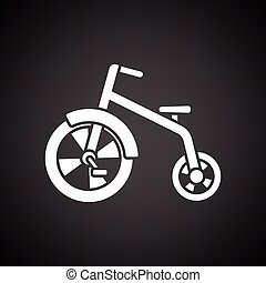 Baby trike ico. Black background with white. Vector...