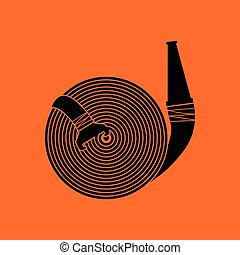 Fire hose icon. Orange background with black. Vector...