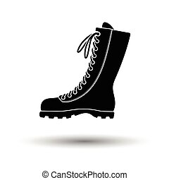 Hiking boot icon White background with shadow design Vector...
