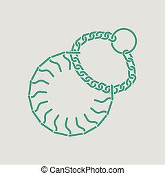 Dogs strict collar icon. Gray background with green. Vector...