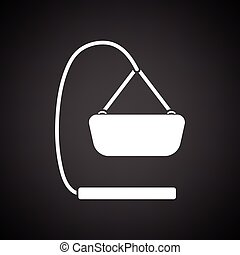 Baby hanged cradle ico. Black background with white. Vector...