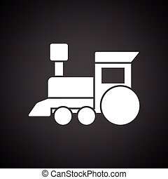 Train toy ico. Black background with white. Vector...
