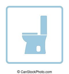 Toilet bowl icon. Blue frame design. Vector illustration.