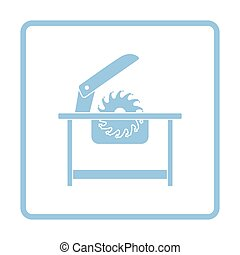Circular saw icon Blue frame design Vector illustration