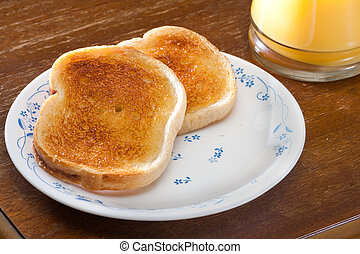toast and orange juice in the morning