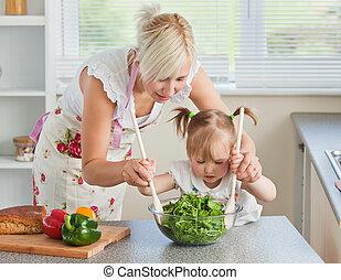 Cottura, madre, biondo, bambino