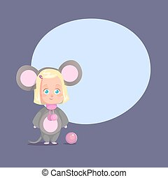 Cute little girl mouse costume Flat Isolated Vector Cartoon...