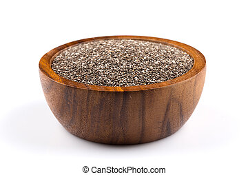 Chia seeds in wooden bowl on white background