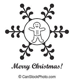 Christmas series: nice picture with gingerbread man in a snowflake.