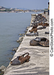 Memorial at the Danube - shoes symbolizing the massacre of...