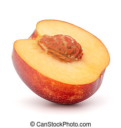 Nectarine fruit half isolated on white background close up