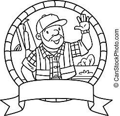 Coloring book of funny driver or worker. Emblem.