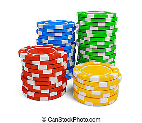 Stack of casino chip isolated on white background