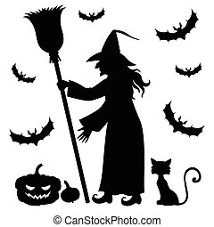 Silhouette witch holding broom - Vector illustrations of...