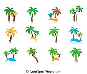 Colorful vector palm tree icons collection