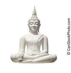 White Buddha (isolated) - White Buddha, isolated against...