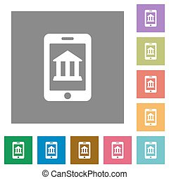Mobile banking square flat icons