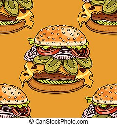 cartoon style hamburgers - Seamless background with cartoon...