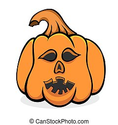 Vector Halloween pumpkin - Halloween pumpkin with scary face...