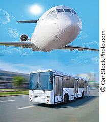 plane in sky bus going in city - plane flying in sky over...