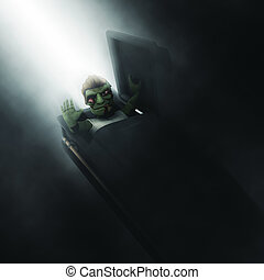 3D zombie emerging out of a coffin - 3D render of a cartoon...