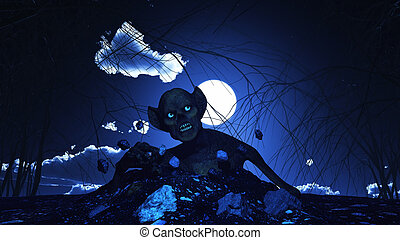 3D Halloween background with zombie - 3D render of a...