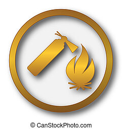 Fire icon. Internet button on white background.