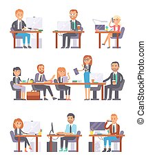 Office people at work vector set.