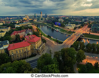 Aerial top night view of Old Town in Vilnius, Lithuania