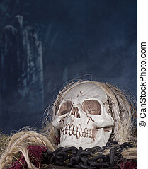 Grim Reaper Skull - Grim reaper skull in a halloween...