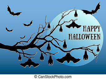 Halloween bats hanging, vector