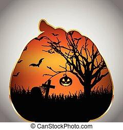 Halloween background pumpkin cut out shape - Halloween...