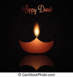 Diwali background with burning oil lamp - Decorative Diwali...