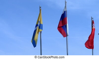 International flags fluttering in wind, close-up