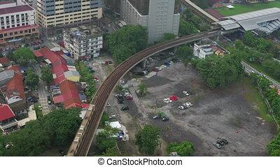 Daytime panorama of city Kuala Lumpur, Malaysia with railway...