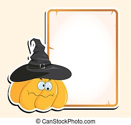 halloween frame with pumkin in the hat