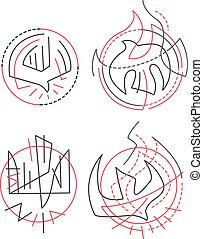 Contemporary religious symbols - Hand drawn vector...