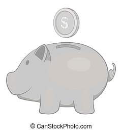 Piggy bank with coin icon, black monochrome style