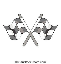 Racing flags icon, black monochrome style - Racing flags...