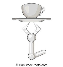 Robot arm holding tray with mug of tea icon in black...