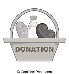 Basket of food for donations icon