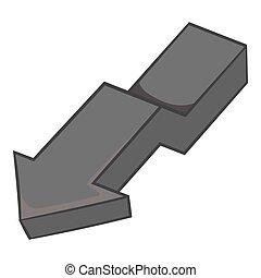 Large curve arrow down icon, monochrome style - Large curve...