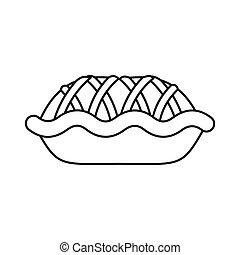 Pie icon, outline style - Pie icon in outline style isolated...