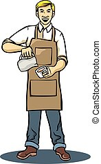Coffee Barista - A vector illustration of barista making...