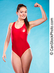 Strong lifeguard lifesaver woman. - Strong lifeguard...