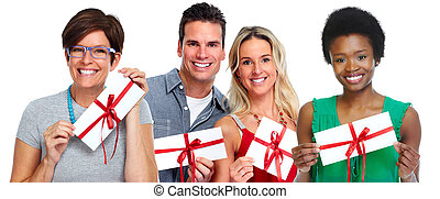 Group of customers with envelope gift.