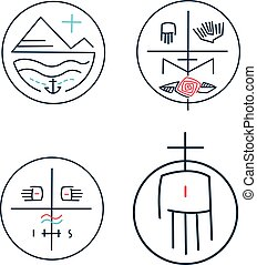 Contemporary religious symbols - Vector illustration of some...