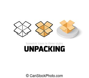 Unpacking icon in different style - Unpacking icon, vector...